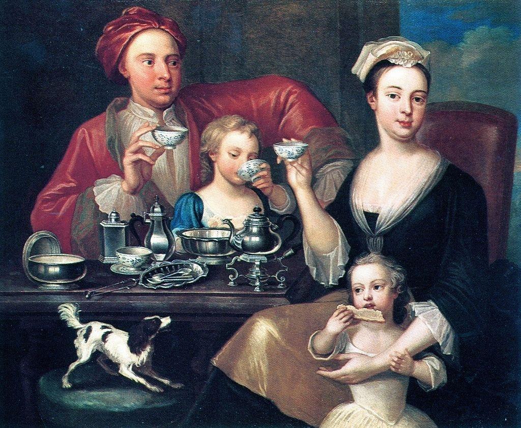 An English Family at Tea, Joseph van Aken, 1720 - illustrating the history of tea