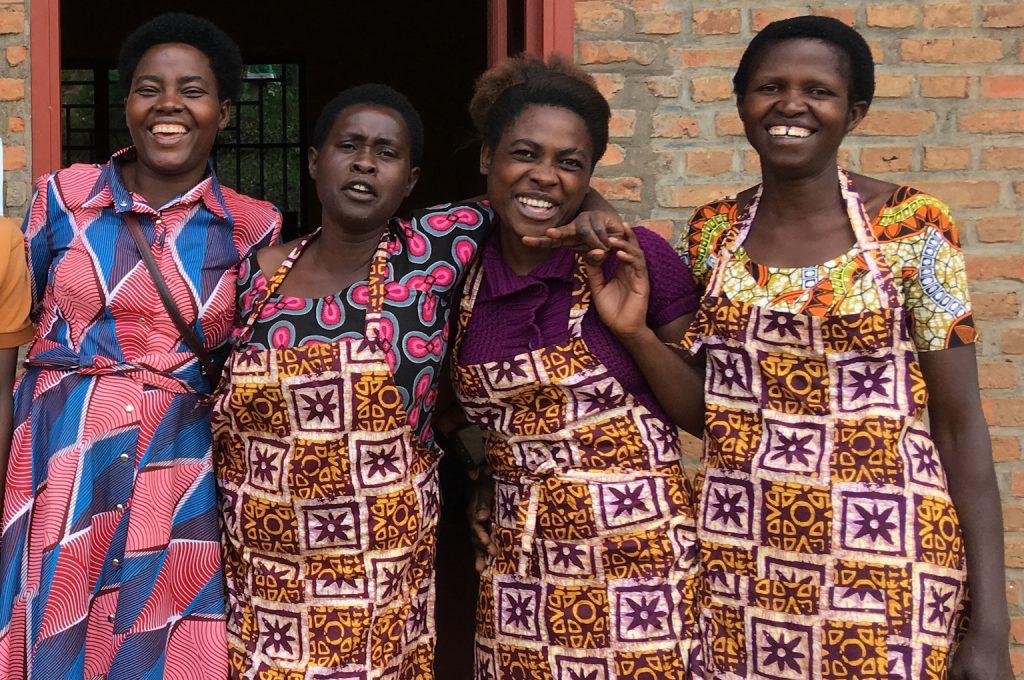 A photo of four of the women of Rwanda's Ejo Heza co-op.
